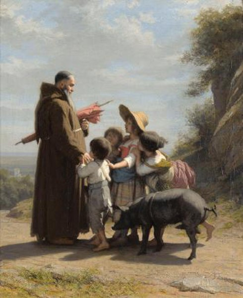 A Franciscan Monk With Children