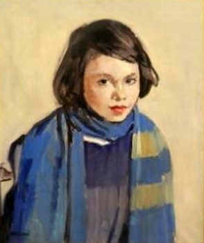 A Girl Seated In A Blue Scarf And Cardigan