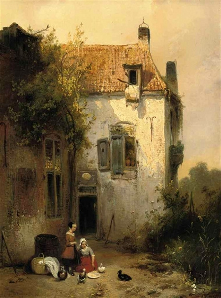 A Sunlit House With Two Girls Feeding The Ducks