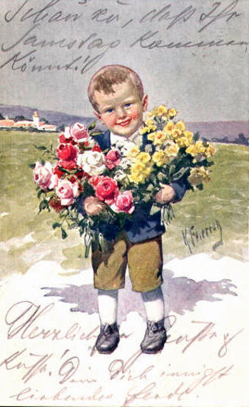 Boy With Flower Bouquets