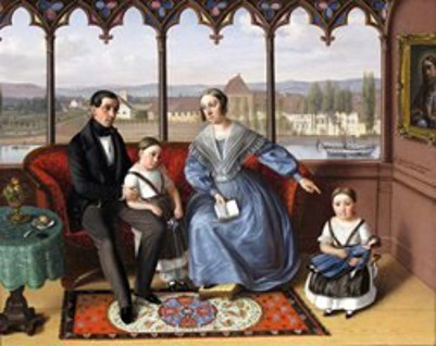 Family Seated In A Loggia Overlooking A Rhenish Town