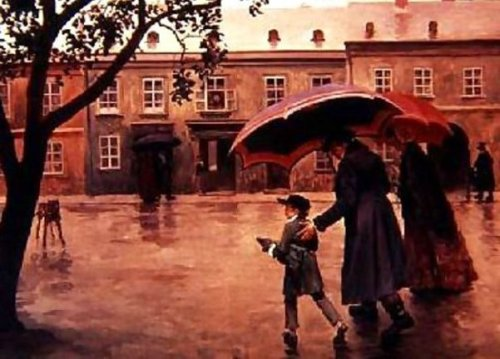 Franz Schubert On His Way To School Accompanied By His Father