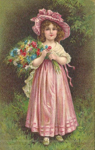 Girl In A Pink Hat And Dress With A Bouquet Of Flowers