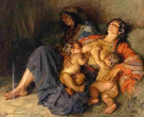 Gypsy With Her Two Children
