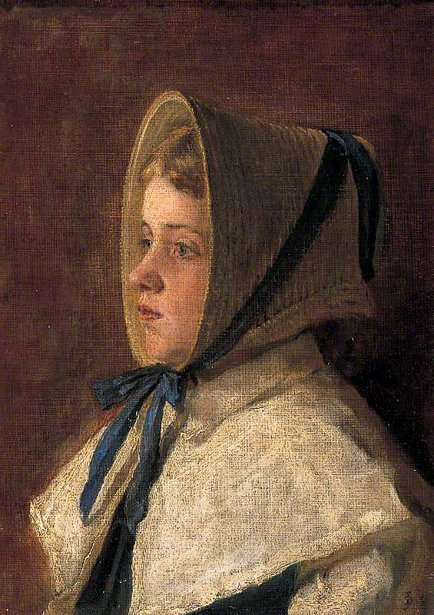 Head And Shoulders Of A Girl Wearing A Bonnet