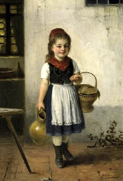 Little Girl With Jug And Basket