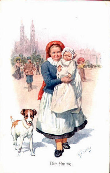 Nurse With Baby And Dog