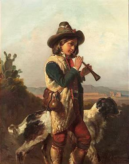 Shepherd With Dog Playing Flute