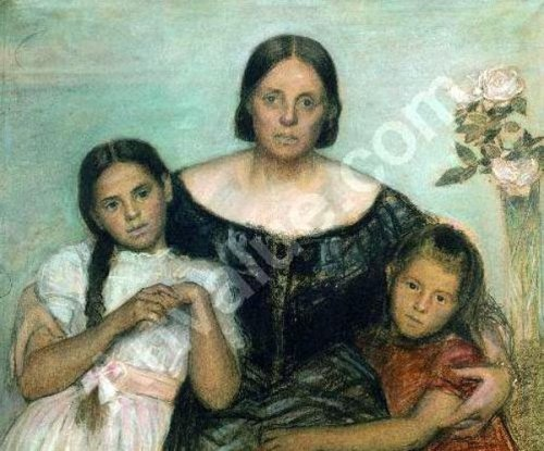 The Artist's Wife Frederikke With His Daughters By His First Marriage, Yvonne And Nina