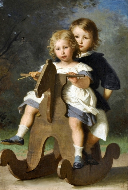 Theophile and Berthold van Muyden on a rocking horse
