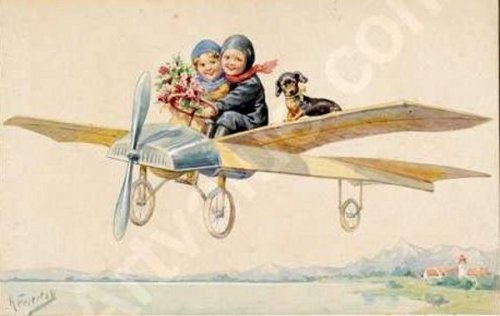Two Children And A Dachshund On A Plane