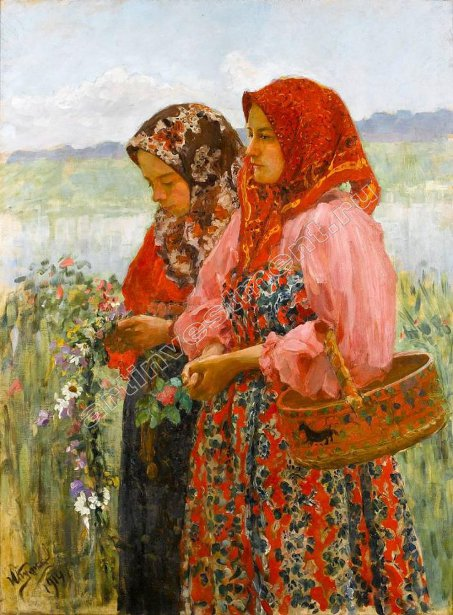 Two Girls Picking Flowers