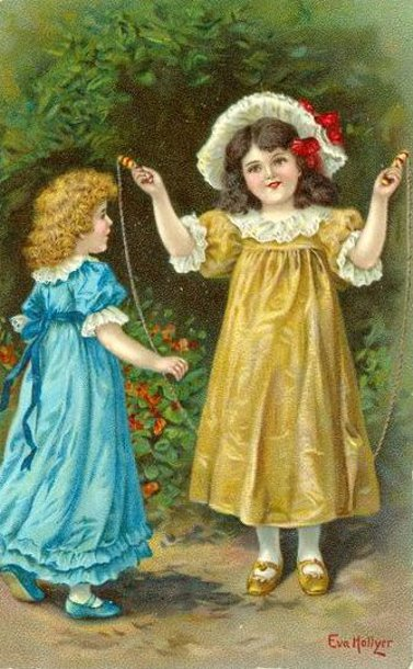 Two Little Girls Skipping Rope