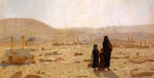 Woman And Children In The Desert