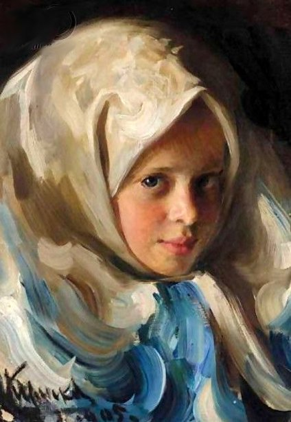 Young Girl In Blue Headscarf
