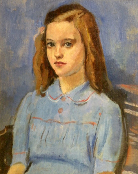Young Girl Wearing A Blue Dress