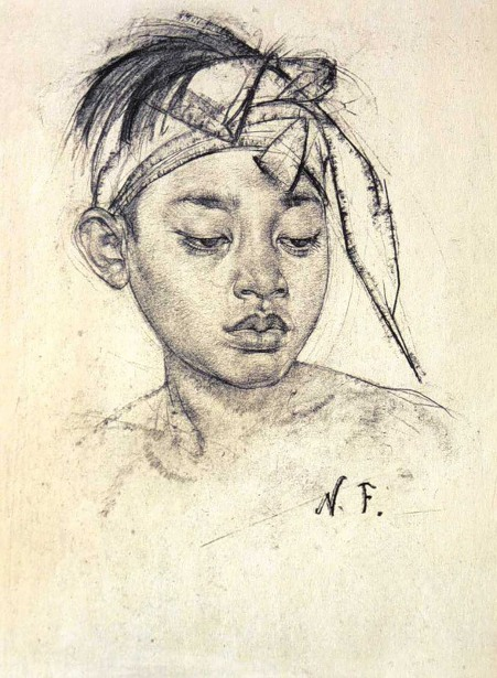 A boy with a bandage from the island of Bali