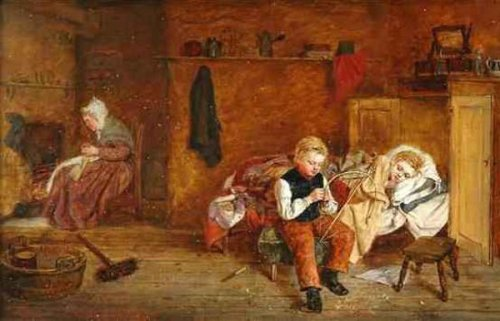 Abercrombie Children And An Elder Woman In A Cottage Interior