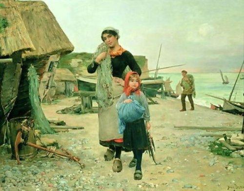 Fisherfolk Returning With Their Nets, Etretat