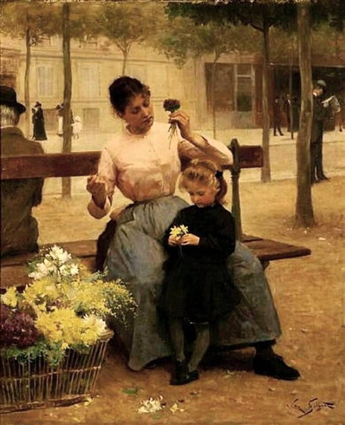 Flower Seller With Child