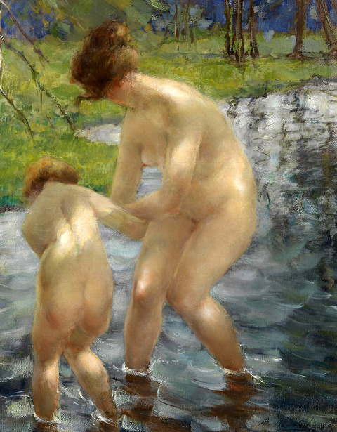 Mother And Daughter Bathing