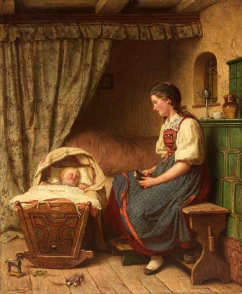 Mother With Child In Front Of The Bed - The Young Mother