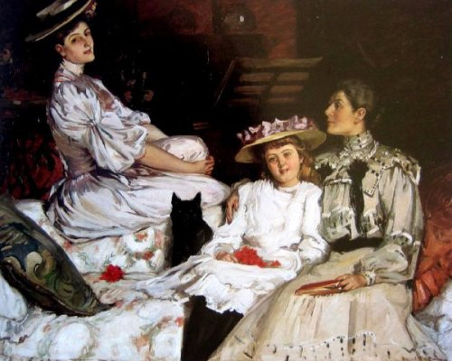 Mrs. Herbert Jones And Her Daughters, Hilda And Dulce