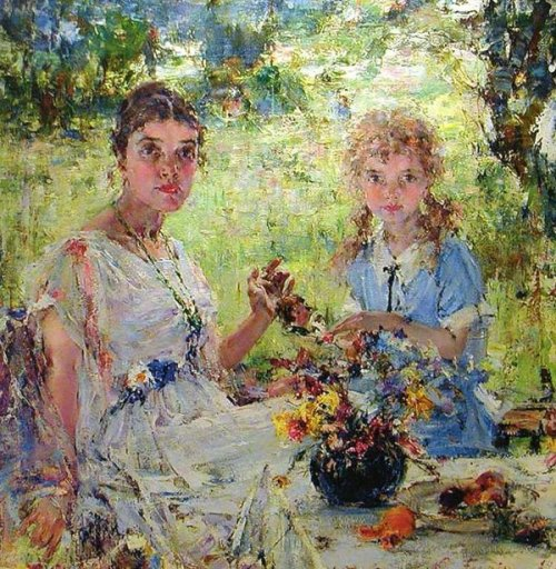 Summer - Portrait Of А.N.Fechin with the daughter Iya