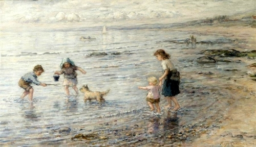 The Timid Bather - By The Seaside