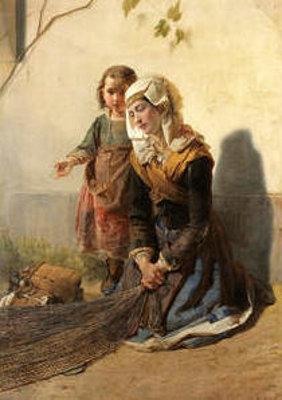 Una mendicante con figlia