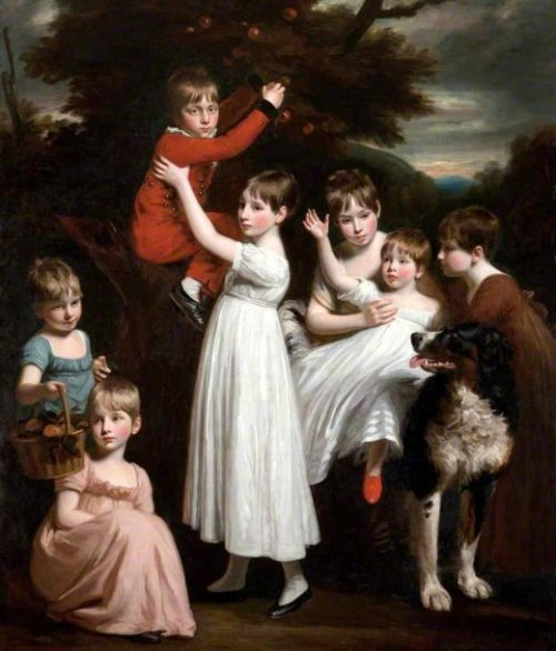 William Brody With His Brothers, Sisters And A Dog
