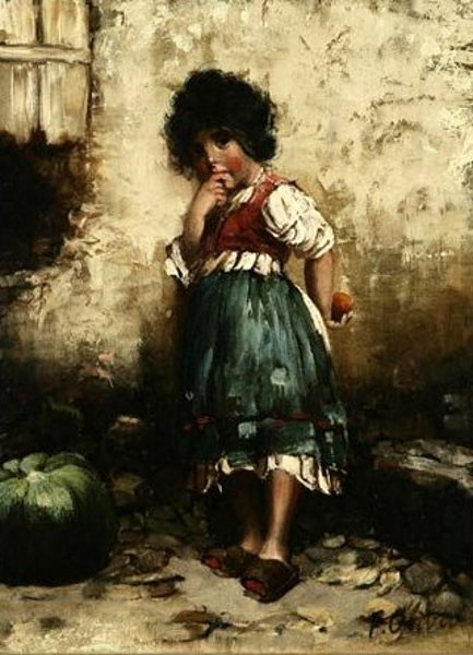 Young Girl Holding An Apple