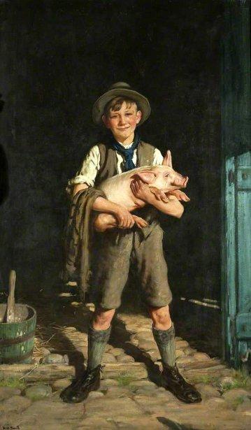 A Boy With A Pig