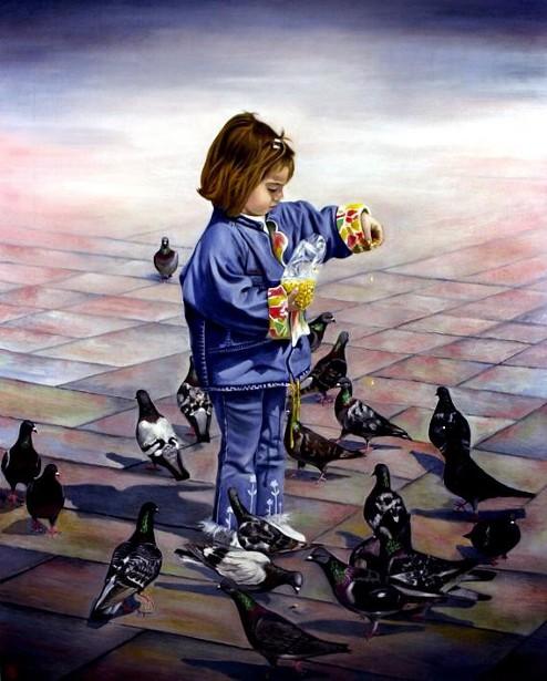 Bambina con piccioni