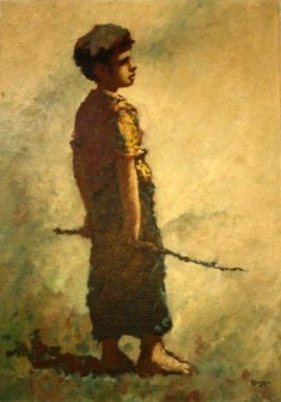 Boy Carrying Stick