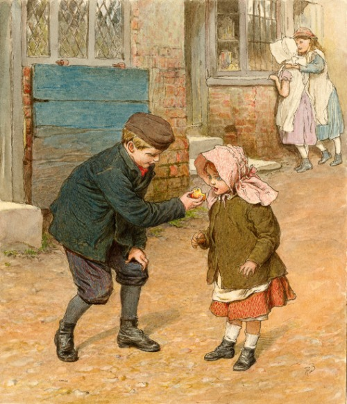 Boy Holding An Apple For A Girl