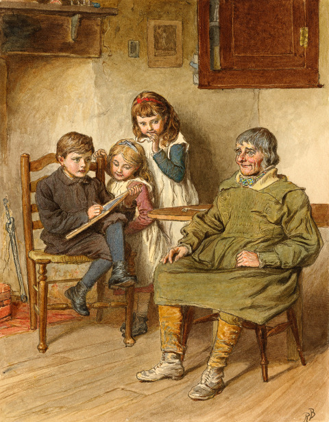 Boy Sketching A Man With Two Girls Watching
