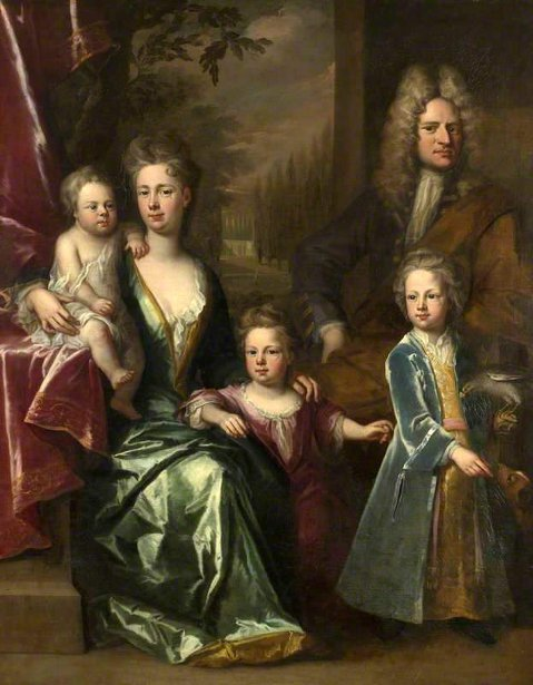 Edward Dryden With His Wife And Children