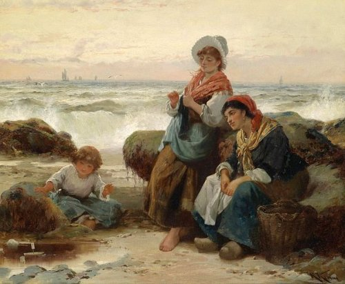 Fisherwomen With Child On The Coast