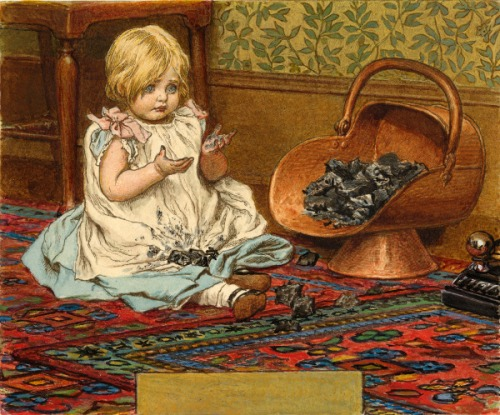 Girl Playing With Coal