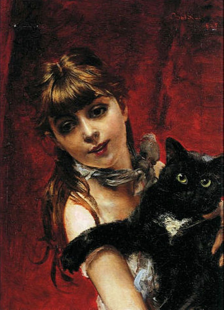 Girl With Black Cat