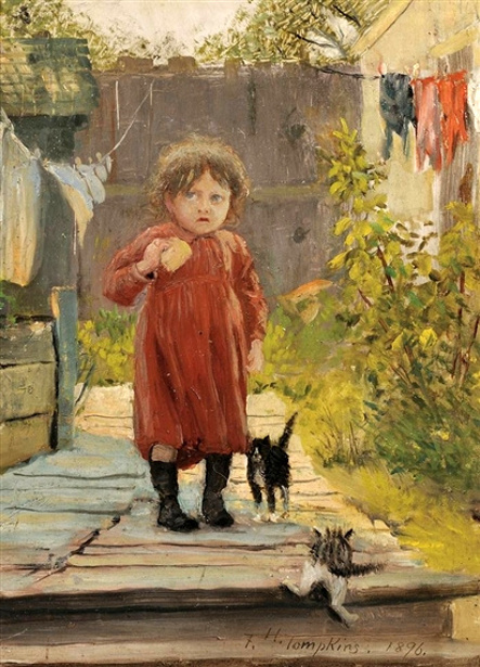 In The Alley - Little Girl With Kittens