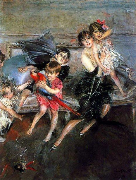 La Signora Edwards con i quattro figli e la bambinaia