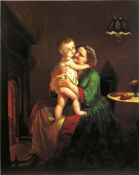 Mother And Child By The Hearth