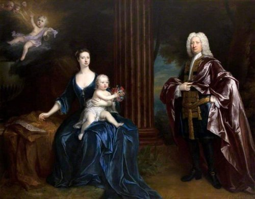 Sir Nathaniel Curzon, With His Wife, Their Son And Their Dead Son In The Clouds Above