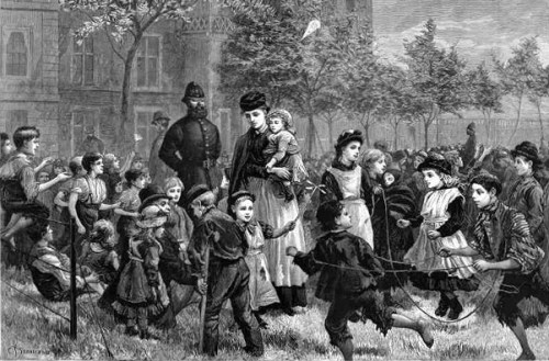The Open Spaces Of London - Children At Play In The Temple Gardens