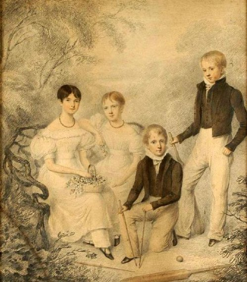 Two Brothers And Two Sisters (possibly members of the Alcock Family)