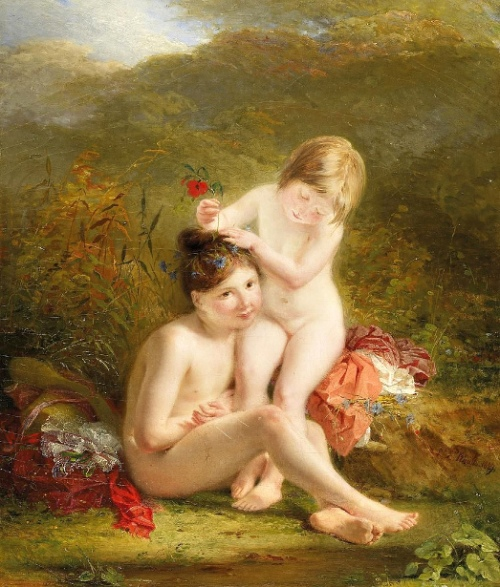Two Sisters By The Banks - Two Little Girls Adorning Themselves