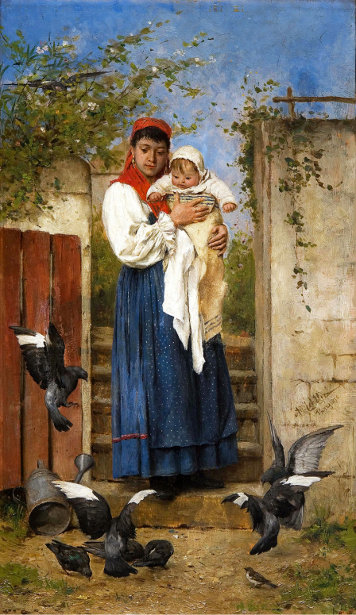 Breton Mother With Her Child At The Gate, Watching A Flock Of Pigeons