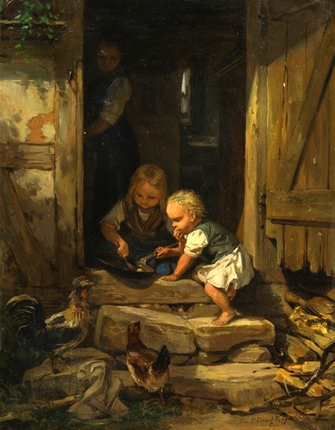 Children Snacking In Front Of The House